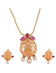 Ganapathy Gems 1 Gram Gold Plated Lakshmi Design Pandent Earing Set With Ruby CZ Stones Without Chain