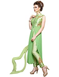 Surat Tex Light Green Colored Pure Georgette & Pure Silk Embroidered Party Wear Semi-Stitched Salwar Suit-I567DL11514