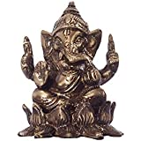 ECraftIndia Antique Finish Brass Lord Ganesha On Lotus