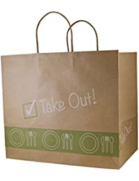 """Heart Paper Products Carry-Out Bags """"Take Out"""" Bags, Kraft Paper, Exclusive Design, 12.5"""" L X 11"""" H X 8'' W, 100..."""