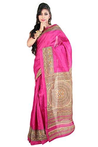Rani Saahiba Art Silk Bhagalpuri Madhubani Printed Dark Pink Saree