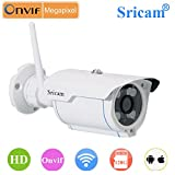 Sricam Wireless Waterproof [Watch LIVE DEMO right now] Wifi HD 720p Outdoor Security Camera with SD card Slot (works with Android, iphone & windows) (support upto 128 GB SD card) + 4 in 1 Stylus Pen (Stylus+Pen+Laser+torch)