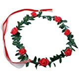 Floral Tiara Rose - Red , Floral Crown , Floral Crown Headband , Adult Party Supplies , Party Props (Pack Of 1...