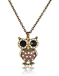 Cinderella Collection By Shining Diva Stone Owl Pendant Necklace