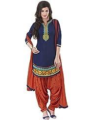 London Beauty Cotton Orange Embroidered Semi-stitched Salwar Suit