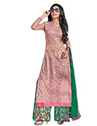 Georgette With Santoon Inner Top With Georgette Print Plazo And Nazmine Dupatta - B0191QRDZS