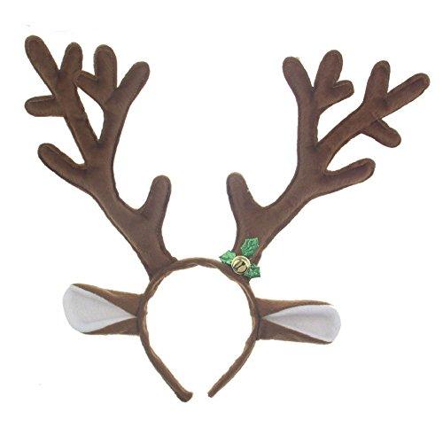 Adults Children Halloween Performance Cosplay Headwear Hair Hoop Head Buckle Reindeer Antlers Headband (brown)