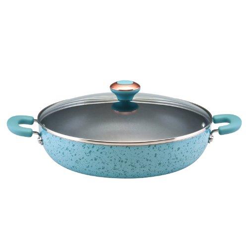 Paula Deen Signature Porcelain Nonstick 12-Inch Covered Chicken Deep Fryer, Aqua Speckle
