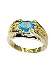 Riyo Blue Enthralling Blue Topaz Cz Buy Gold Plated Jewelry Gimmal Ring Women 16 Gprbtcz7.5-92030