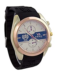 Addic EWWE Stylish Copper Circular Bezel Dark Blue And White Dial With Light Gold Case And Black Strap Sports...