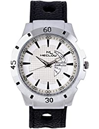Latest Design Black Leather Belt Watch, Round White And Silver Dial Analog Watch For Men's/Boys Classic Fashionable...
