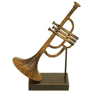 "Metal Trumpet Table Decor 11""H, 7""W"