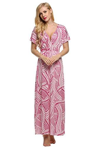 ACEVOG Womens Bohemian Floral Print Long Maxi Beach Short Sleeve Party Dress