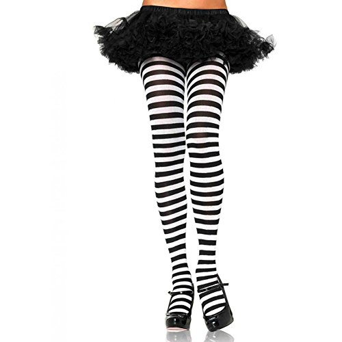 Great Group Halloween Costumes: The Addams Family - Leg Avenue Nylon Striped Tights Black/White