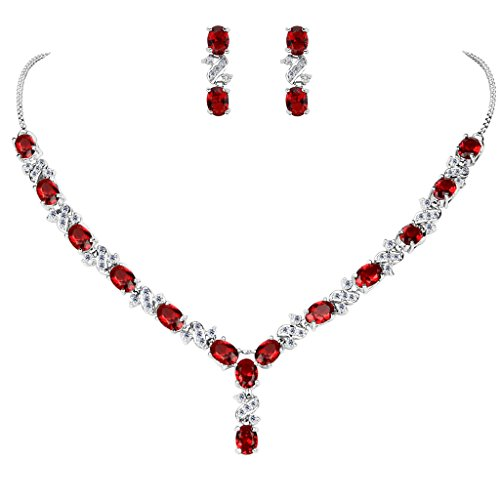 EleQueen Women's Silver-tone Cubic Zirconia Oval Shape Leaf Bridal Necklace Earrings Set Ruby Color