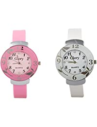 Combo Of Two-Baby Pink And White Glory Circular Dial Watch For Women