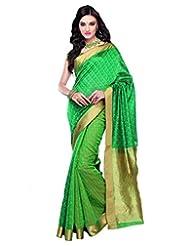 Dark Green & Light Greenish Gold Cot Silk Weaved Saree In Golden Border-SR6082