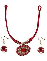 Aradhya Black Color Fashion Junk Necklace Earrings Set Tibetan Style Beaded Handmade For Women