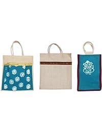 Cristal Bags Jute Shopping Bags (Pack Of 3, Jute-864)