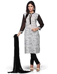 White And Black Printed 3/4 Sleeves Churidar Kameez