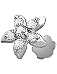 Vijisan Nose Pin Ring Collection 0.18 Ct. 925 Sterling Silver Floral Classic Nose Pin Stud For Women [GUNP0050]