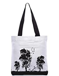 Snoogg Vector Grunge Background With Trees Designer Poly Canvas Tote Bag