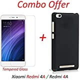 YuniKase (COMBO OFFER) For Xiaomi Redmi 4A / Xiaomi Redmi 4a - - - Hard Matte Finish Back Cover Case ( Black )... - B06XTP4V36