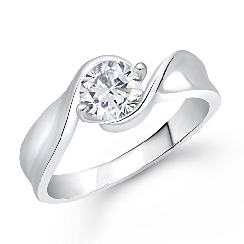 Meenaz Love Ring Valentine Gifts Silver Ring Fancy Party Wear In American Diamond Cz Ring For Girls & Women FR231