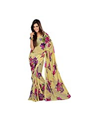 Admyrin Yellow Georgette Printed Saree With Pink Blouse Piece