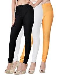 Fashion And Freedom Women's Pack Of 3 Black,White And Orange Satin Leggings