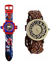 24 Images SPIDER MAN Projector Watch For Kids WITH FREE LEATHER STRAP WOMEN WATCH