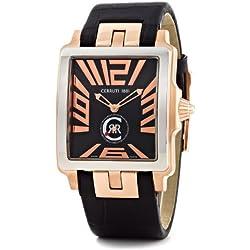 Cerruti CRB002I222D - Reloj analógico de caballero de cuarzo con correa de piel negra - sumergible a 50 metros