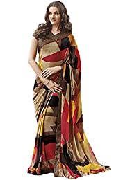 Roop Kashish Georgette Printed Saree With Bead Work On Border