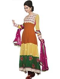 Exotic India Tri-Color Long Choodidaar Kameez Suit - Multi-Coloured