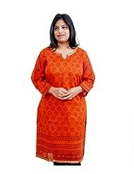 Viniyog Women Hand Woven Maheshwari Cotton-Silk Hand Block Printed Orange Kurti
