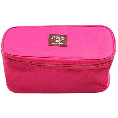 Multi Functional Travel Organizer Cosmetic Make Up Bag Portable Luggage Storage Case Bra Underwear Pouch (Rose...