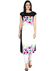 Queen Creation Women's Crepe White Colour Printed Kurti(White Colour) - B01LH7EGAE