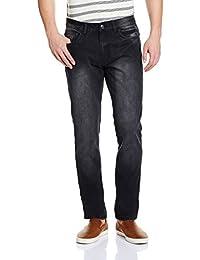 Newport Men's Slim Fit Jeans (8907542299737_269997202_38W X 32L_Black - Mid Stone)