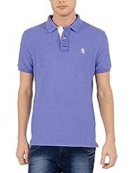 The Cotton Company Men's Luxury Cotton Polo T Shirt - Blue Melange
