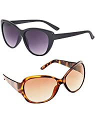 New Stylish UV Protected Combo Pack Of Sunglasses For Women / Girl ( BlackCateye-BrownButterfly ) ( CM-SUN-013 )