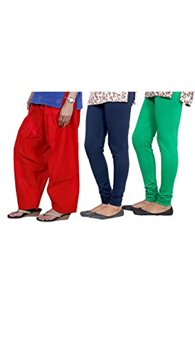 Indistar Women's Semi-Patiala Salwar With Premium Cotton Casual Legging (2 Pieces)- (Combo Pack Of 3)