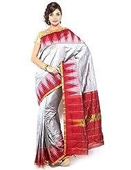 Pure Silk Kanjeevaram Hand Women Saree-Grey-SLV31-VS-...