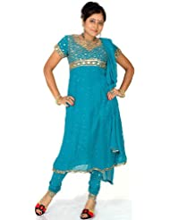 Exotic India Turquoise Anarkali Suit With Embroidered Sequins All-Ov - Turquoise