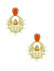 The Art Jewellery Rajwadi Ethnic Drop Earrings For Women In Orange