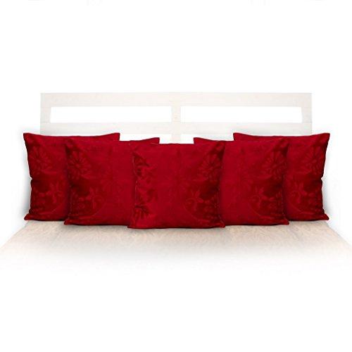 "Po Box Faux Velvet Cushion Cover Set Of-5 Floral Maroon 16""X16"""
