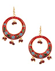 Voylla Red Hoop Earrings In Gold Tone Studded With Red Beads