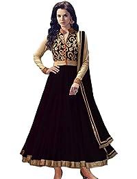 Shiroya Brothers Women's Net Anarkali Salwar Suit Unstitched Regular Wear Dress Material(SB_DM_BLACK_1071)
