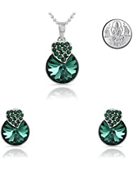 Mahi Rhodium Plated Green Strawberry Pendant Set Made With Swarovski Elements For Women With Free Silver Laxmi...