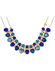 Voylla Rose Gold Toned Necklace With Central Adornment Of Multicolor Stones
