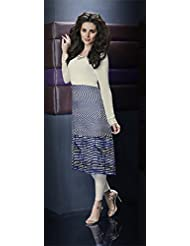 Deepkala Silk Heritage Women's Off White And Blue Georgette Printed Kurti